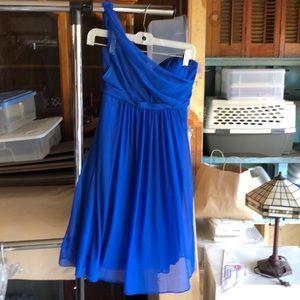 Blue one shoulder dress